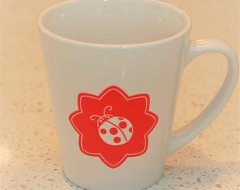 Olivia Ladybird latte mug in red, children's mug, coffee mug, scandi lifestyle