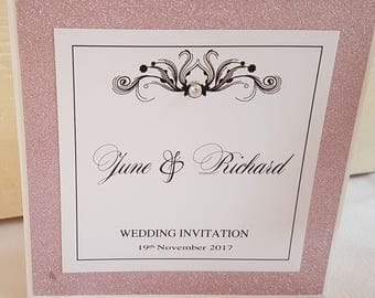 "Handmade white and pink glitter pocketfold wedding invitation ""sample"""