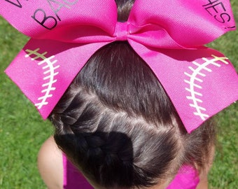 Softball bow with hair tie