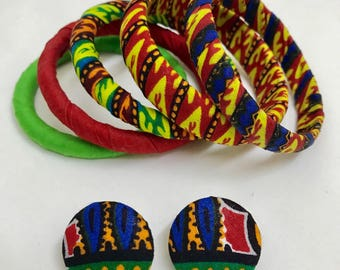 African Ankara Print Bangles & Medium Button Earrings Set