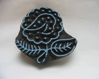 Vintage Hand Carved  India Wood Block Textile  Fabric Stamp Flower Design Indian Hand Carved Wood Stamp