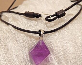 Fluorite Necklace, Fluorite Pendant, Silver Pendant, Leather Necklace, Silver Necklace, Raw Fluorite, Gemstone Necklace, Silver Fluorite