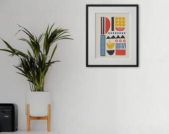 A4 Art Print • Wall Art • Abstract • Primary Colours • Collage • Mid Century Modern • MAN