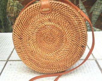 Bulan. Plain Ata Round Bag. Rattan bag. Wicker bag. Handwoven bag. Genuine leather bag. Natural bag. Organic bag.