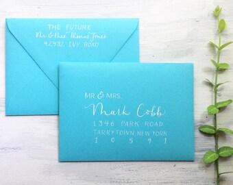 Hand lettered custom modern calligraphy | Wedding envelope addressing