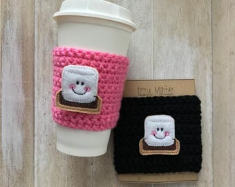 S'mores Cup cozy, cup cozy, reusable cup sleeve, coffee sleeve, hot chocolate holder, teacher gifts, party favors, frappuccino holder