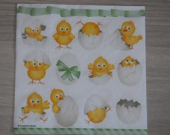 "Easter theme napkin ""chicks"""