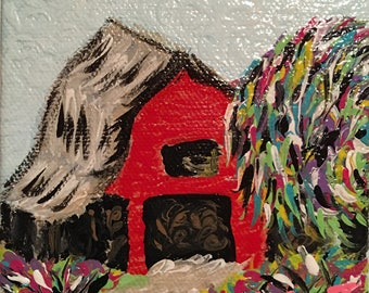 Red Barn Expressing the Weeping Willow Tree Painting
