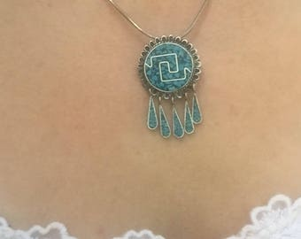 Sterling Silver And Turquoise Pendant and Pin 925 Silver