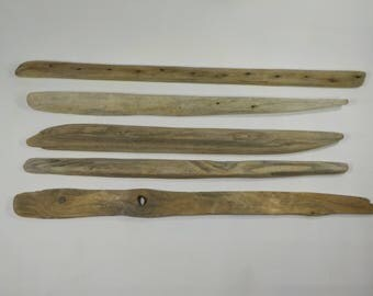 5 Driftwood  20.5-23.2''/52-59cm  Flatish Narrow Driftwood Sticks,Aged Old Looking Driftwood Dowels,Macrame/Mobile Supplies #53