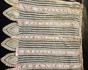 Hand crocheted  apron with pink ribbon