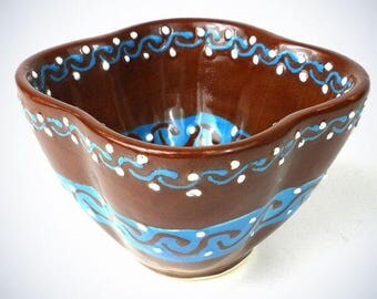 Hand Painted Dip Bowl In Chocolate