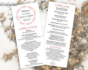 Order of Ceremony Pink Wedding Program PDF Order of Service PDF Wedding Ceremony Program Ceremony Template Printable Program 008