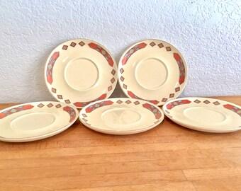 Teacup saucers WS Cavitt Shaw Iroquois southwestern print vintage saucers , boho wedding , teaparty