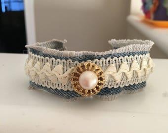 Recycled denim bracelets
