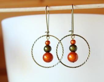 Earrings pearls magic orange khaki