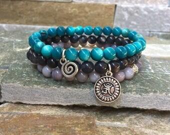 Om Lotus bracelet set shell Pearl spiral mala
