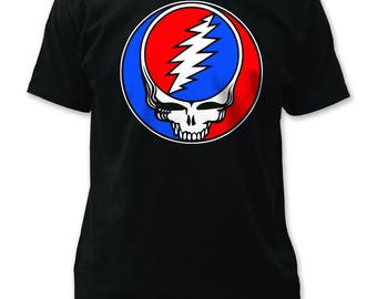 Grateful Dead Steal Your Face Men's Traditional Fit 18/1 Cotton Tee (GD02) Black