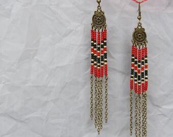 FREE SHIPPING Red earrings - Seed bead earrings - Chain earrings - Long earrings - Beaded earrings - Boho earrings - Beaded jewelry