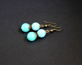 Blue gift earrings Aqua blue stones earrings Amazonite aquamarine earrings Aquamarine round earrings Amazonite round earrings Blue gemstone