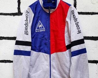 Vintage Le Coq Sportif Jacket Colors Block Full Zip Up Nice Design