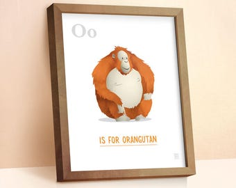 Orangutan Print | Nursery Animal Print | Alphabet letters | Alphabet Print | ABC letters | Animal Prints for Nursery | Nursery Wall Art