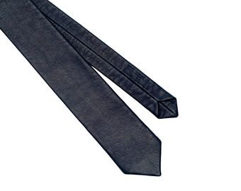 Midnight Blue Leather Tie