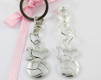 I Love Netball Charm Select from Keychain or Clip on Charm for Bag Zipper Pull