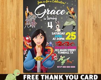 Disney Princess Mulan Invitation - Printable Disney Princess Mulan Birthday Invite