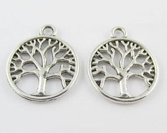 Bulk Tree Of Life Charm Pendant Antique Silver Finish Select Qty 5/10/15/20