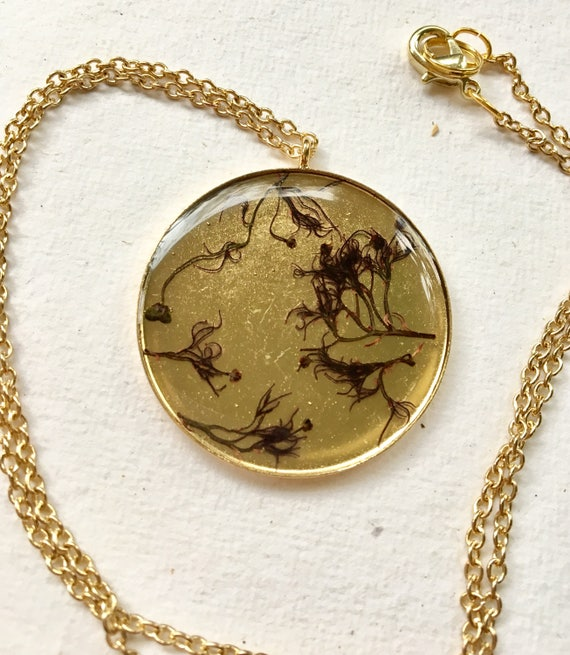 Smokebush flower brass circle necklace