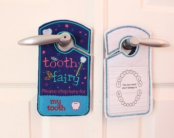 Tooth Fairy Door Hanger, Pocket,Tooth Fairy Pillow Alternative for boys, blue, navy, tooth fairy coin pocket,birthday gift stocking stuffers