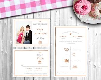 "Personalized Wedding Invitation Set - ""Icon-ic Love"" - Style #215"