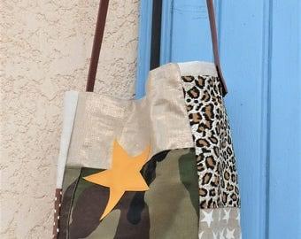 lin lamé gold/camouflage khaki/dot/leopard shoulder bag style pomponette star