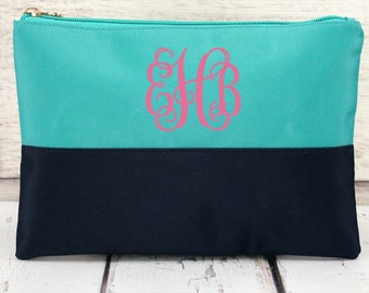 Blue Color Block Monogrammed Cosmetic Bag,Monogrammed Makeup Bag, Monogrammed Clutch, Monogrammed gift, Personalized Bag, Bridesmaid Gift