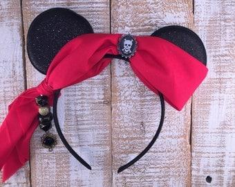 Pirate Ears, Minnie Ears, Pirates of the Caribbean Inspired Headband, Pirate Headband, Girls Birthday Headband, Bachelorette Party