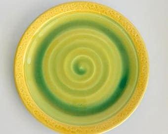 Wheelthrown Yellow and Green Ceramic Plate