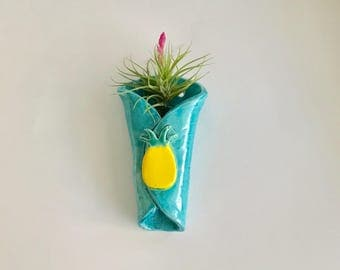 Handmade Hanging Ceramic Pineapple Air Plant Holder
