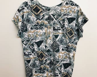 Womens Abstract Retro Top