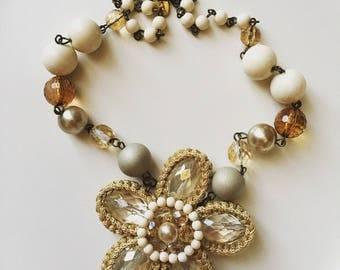 Vintage des années 70 signé ABISTE cristal à la main, collier de fausses perles et perles en plastique de robe