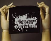 Save the Bees Patch | Punk patch | Screen print | Patches for Jackets | Metal patch | Global Warming Patch | Vegan Patch | Custom Patch