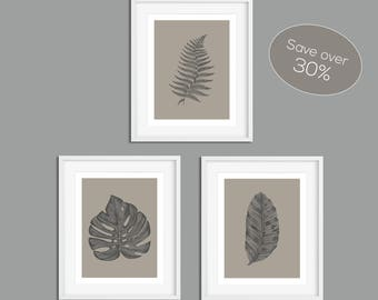 Wall Art Prints, Set of Prints, Wall Art, Leaves Wall Art, Minimalist Wall Art, Leaves Prints, Prints, Grey Prints, Grey Print Set, Posters