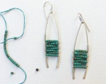 Moana Earrings, Silver Turquoise Earrings, Beaded Earrings, Modern Jewelry, Turquoise Beaded Earrings, Modern Bohemian Jewelry