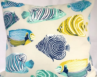 SALE OUTDOOR Pillow Covers Blue Yellow Fish Pillow Case, Turquoise Blue  Pillow, Pillows Decorative