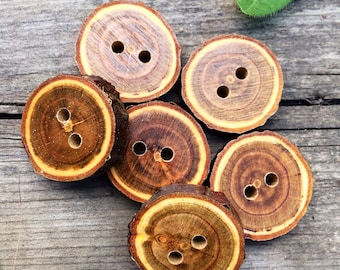 Bark-on Wood Buttons // Handmade Wooden Buttons // Decorative Crab Apple Wood // Sewing & Notions // One-of-a-Kind Buttons // Wood Buttons