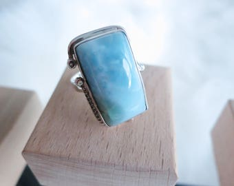 Size 6 Handmade Genuine Dominican Republic Larimar Sterling Silver Ring