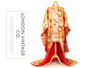 Vintage metallic orange Japenese wedding/ceremonial Uchikake kimono with floral embroidery