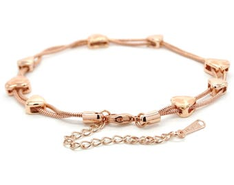 Real rose gold plated snake chain bracelet, genuine rose gold hearts, rose gold bracelet heart charms, valentine, purple gift bag black box