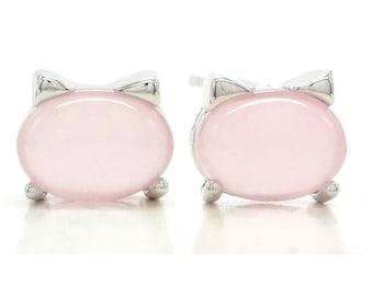 Pink cat moonstone earrings 925 sterling silver, pink moonstone, kitty cat hellokitty, pink stud, pink, black gift box purple jewelry bag