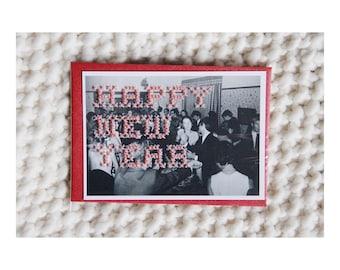 "Postcard - Print photograph vintage ""Happy New Year"" hand - embroidered cross stitch - June b Kitsch - JB K"